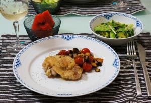 チキンのハーブ焼き!茄子とプチトマトのソース