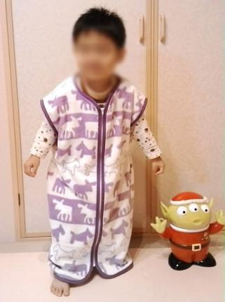 3歳4ヶ月(身長97cm)の息子に着せるとこんな感じ