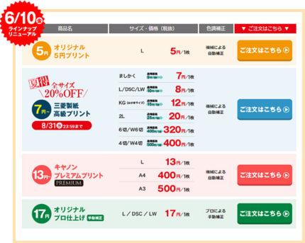 ネットプリントジャパンの価格一覧
