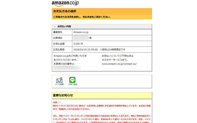 支払い方法を確認できるページが表示されます