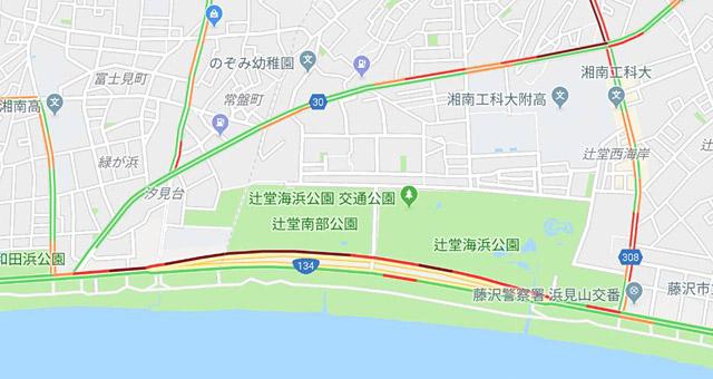 Googleマップを見てみると、辻堂海浜公園の駐車場渋滞が出来ている