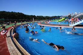 辻堂海浜公園のジャンボプールでは、6つのプールが楽しめる