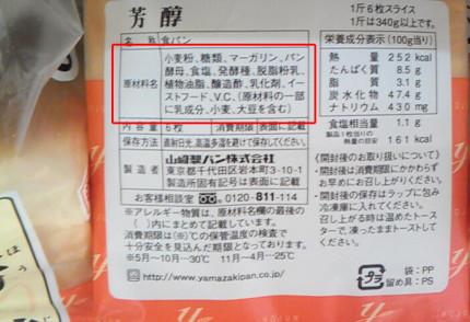 他のメーカーの食パンの原材料名