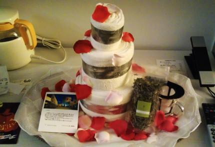 タオルで作られたケーキが!